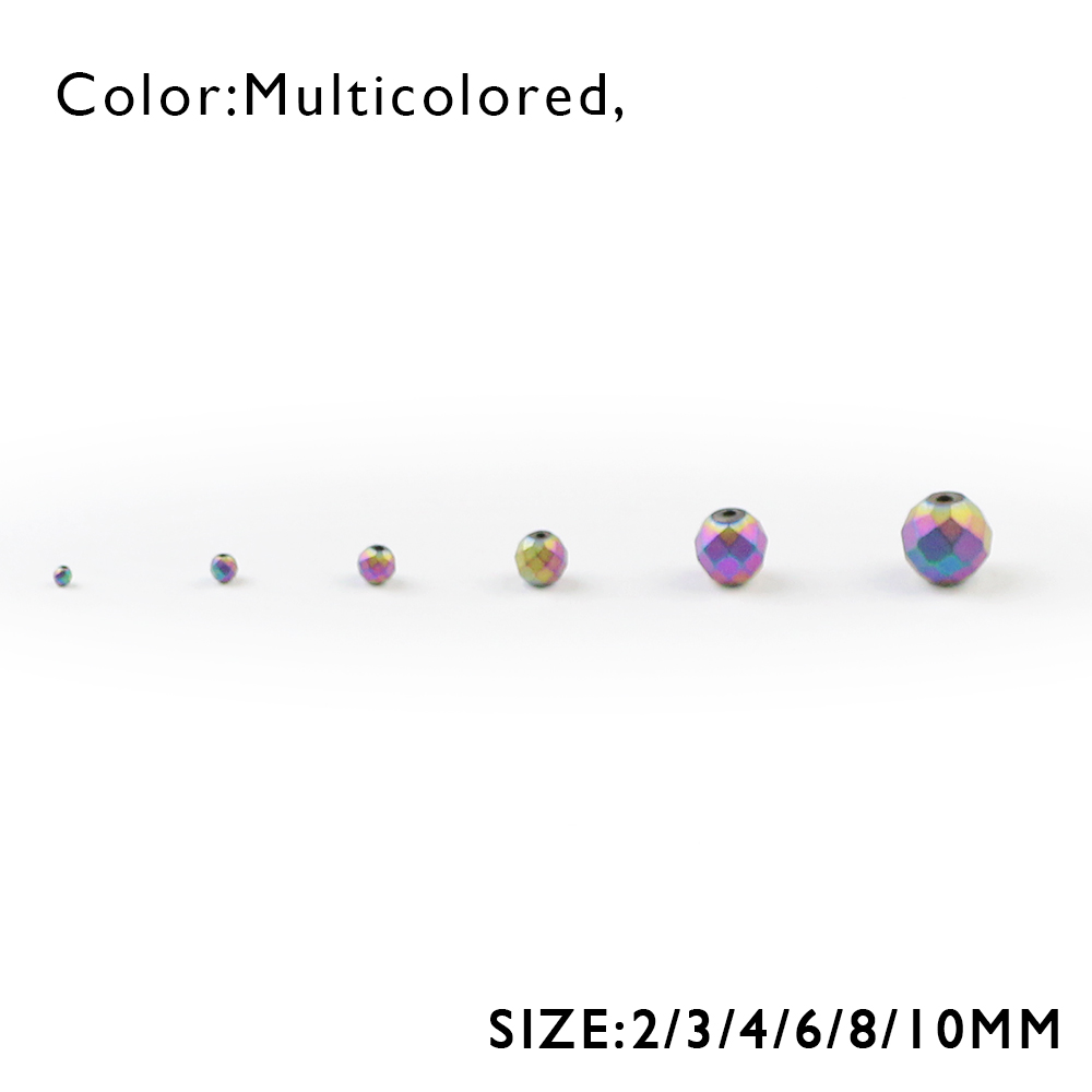 WLYeeS Plating Multicolor Faceted Round Hematite Bead 2 4 6 8 10mm Ball Loose bead for Jewelry Bracelet Making DIY Accessories in Beads from Jewelry Accessories