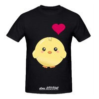 RTTMALL Black White Men T Shirts Cotton Little Chicken with Red Heart Funny Camisa De Basquete Young Guy Anime T-shirts Big Sale