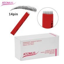 100pcs 14pins Permanent Makeup Eyebrow Tatoo Blade Microblading Needles  Manual Tattoo Pen Machine