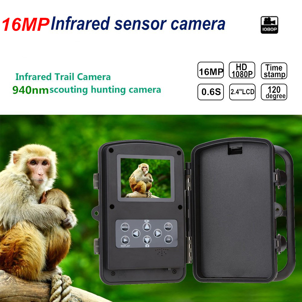 16MP Scouting Hunting Trail Camera 0.6S Trigger Night Vision 940nm IR Infrared Trail Cameras 2.4' LCD IR Game Hunter Camera 940nm scouting hunting camera 16mp 1080p new hd digital infrared trail camera 2 inch lcd ir hunter cam