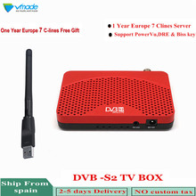 Vmade DVB-S2 Satellite Receiver Set-Top Box With 1 Year Europe 7 line Cccam + USB WIFI Support HD 1080P H.264 Youtube Bisskey freesat v8 super dvb s s2 satellite receiver with usb wifi support cccamd biss key h 264 hd 1080p youtube rceptor satellite