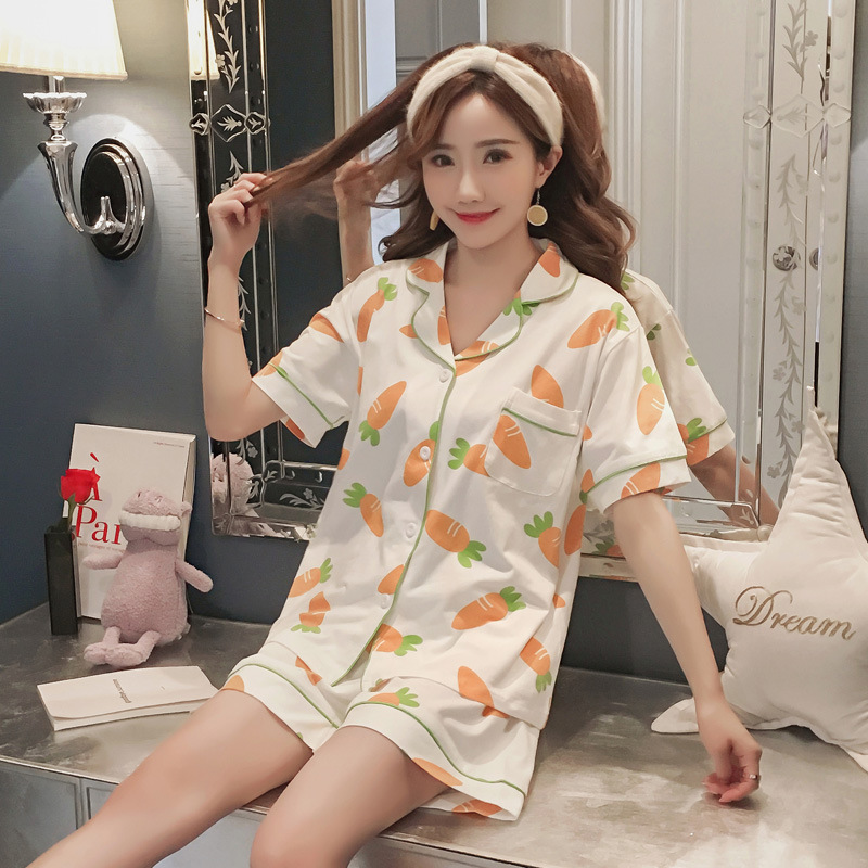 Pajamas Sets womens Geometric Cotton Cartoon Fashion Women Long Sleeve Sleepwear Suit 2 piece Sexy Spring Home Lounge Gift