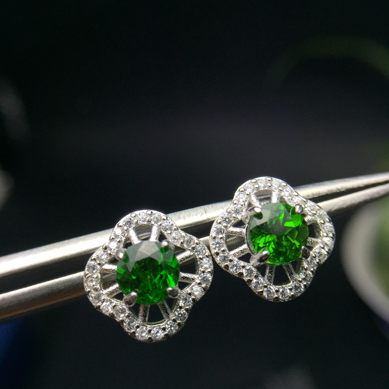 Uloveido Green Diopside Stud Earrings Women 925 Sterling Silver Gemstone Jewelry Wedding 4 4mm Velvet Box