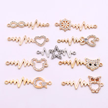 Hot 10pcs Gold and Silver Long Connectors Charms with Rhinestone Owl Heart Star Shaped Connectors Accessories for Jewelry Making(China)