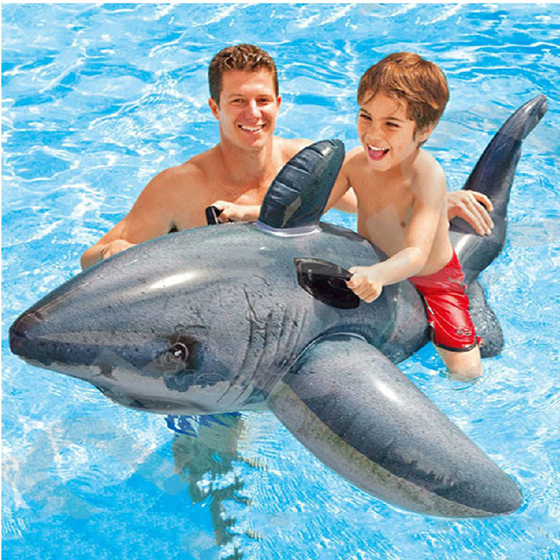 173*107cm plastic pvc inflatable big shark fish rider child sit on rider toy summer beach play swimming pool toy B40005