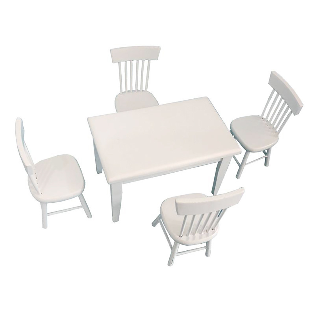 Furniture Room Items 1 12 Dollhouse Miniatures Furniture White Dining Table Chairs Model Set Dolls Bears