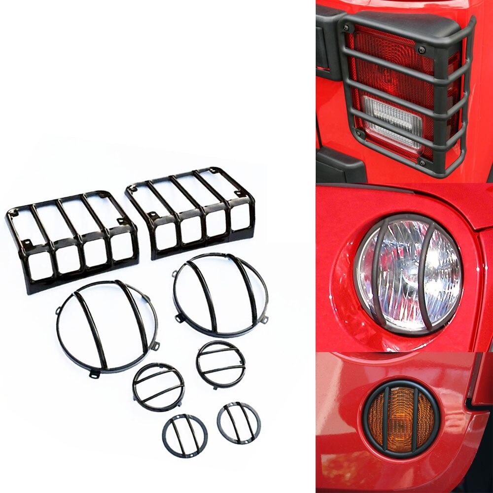 Для Jeep Вранглер JK в 1 комбо набор Крышка фары светодиодный свет Крышка гвардии капот для фар задний фонарь парковка лампы