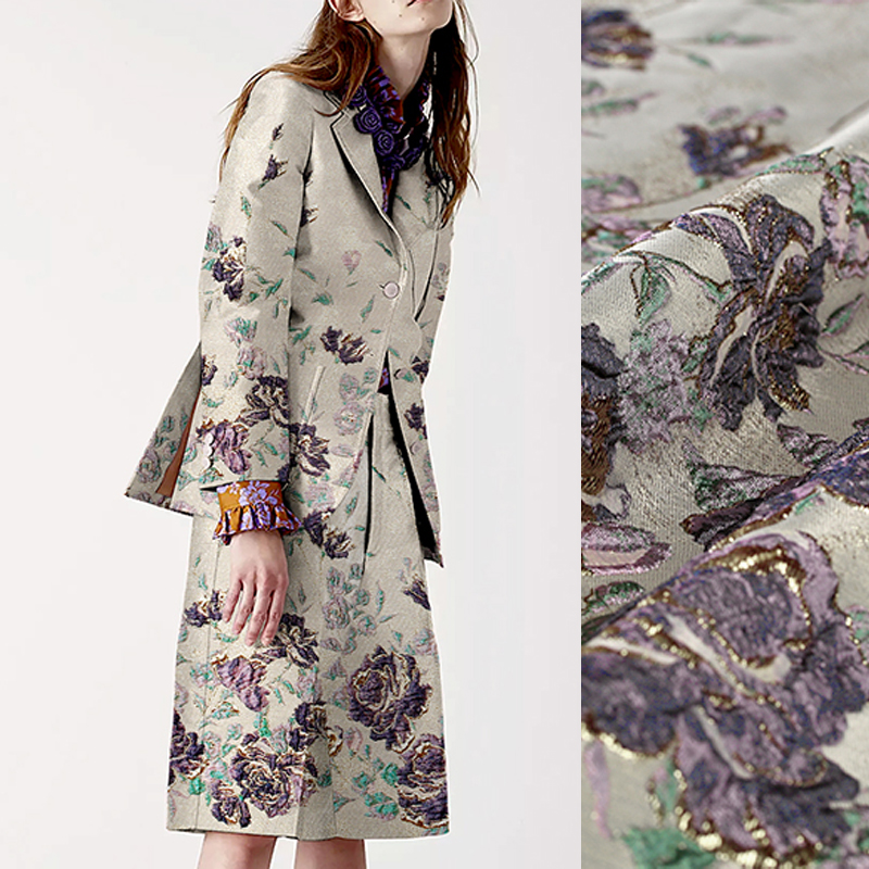 140CM Wide 320G M Purple Floral Jacquard Brocade Spring Autumn Jacket Clothes Dress Coat Pink Fabric