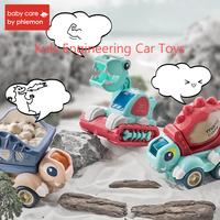 Kids Simulation Engineering Car Toys DIY Dinosaur Excavator Mixer Truck Early Educational Imitation Vehicle with Music Light