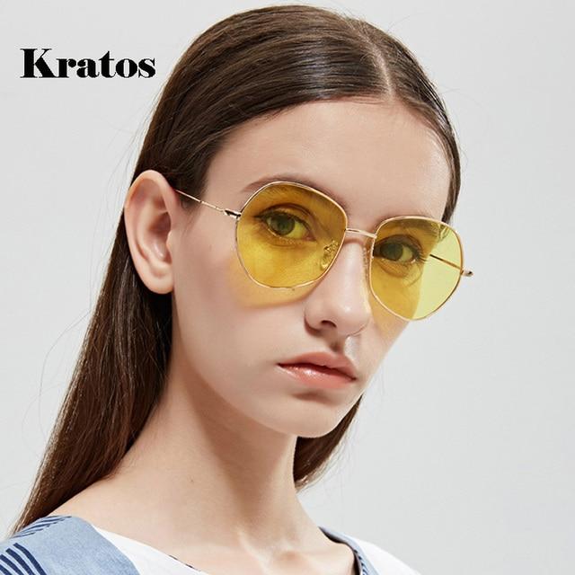 7e189b655a5 Kratos Retro Cat Eye Sunglasses Women Yellow Red Lens Sun glasses Fashion  Light Weight Sunglass for