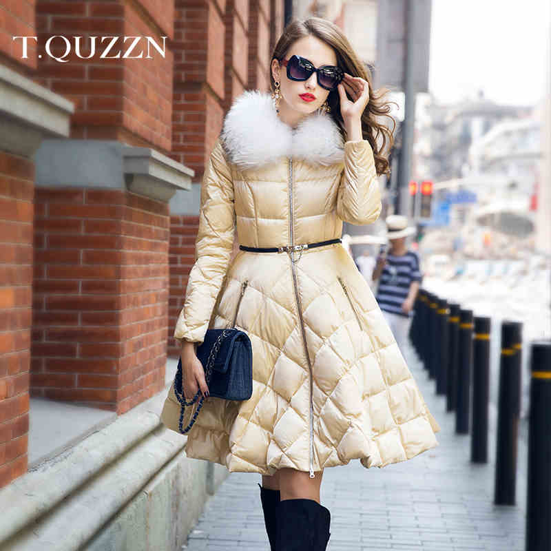 2015 New Hot Winter Thicken Warm Woman Down jacket Coat Parkas Raccoon Fur collar Slim A pendulum Long Plus Size 2XXL Luxury
