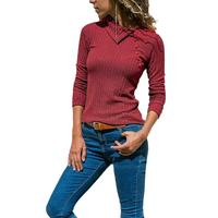 Long Sleeve Knitted T Shirt Women Autumn Tshirt Female 2018 Solid T Shirt Women Tops Silm Sexy Lady Shirt Camisetas Mujer SJ027Z