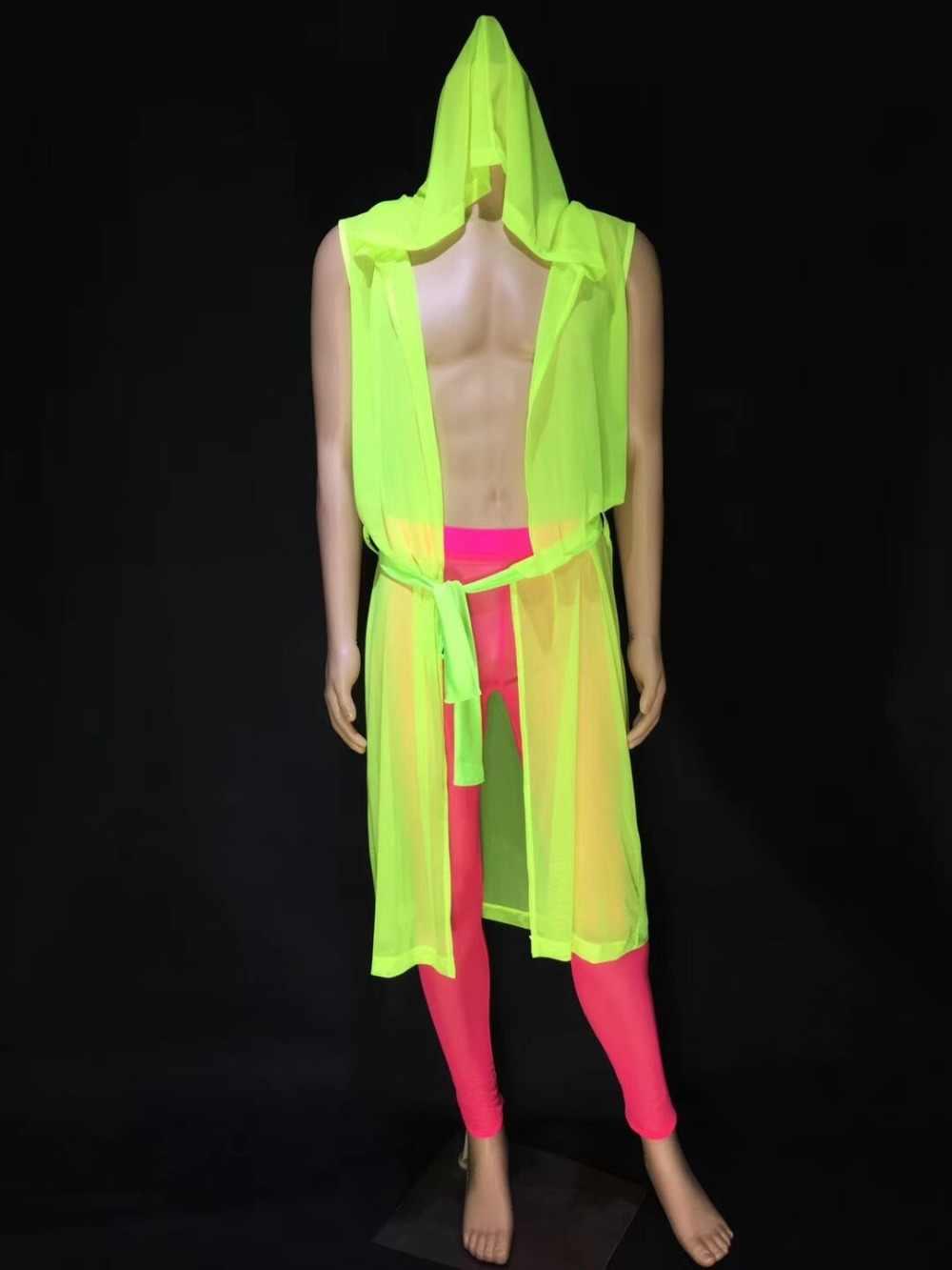 蛍光グリーンピンクマントレオタードパンツセクシーなメンズスーツナイトクラブバー潮歌手ダンサーポールダンスのステージ衣装