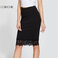 COLROVE Black Elegant Lace Pencil Skirt Elastic High Waist Women Floral Shape Summer Skirts 2017 Fashion