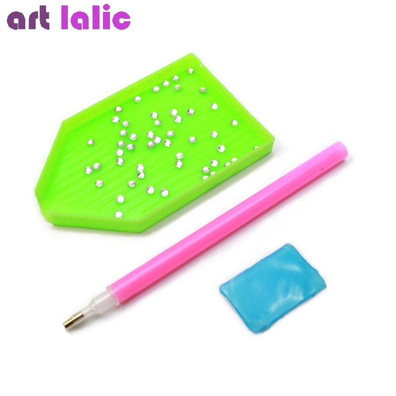 3pcs/set Nail Art Rhinestones Picking Pick Up Tool Pen + Clay + Dish pick up Pen Beads Gems Nail art sets 3pcs 3 175x15mm up