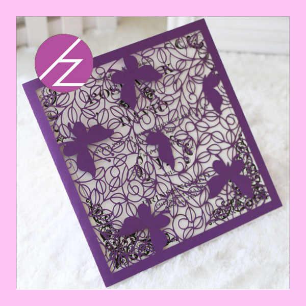 50 Pcs Laser Cut Butterfly Indian Wedding Card Design English Wedding Invitation Card Greeting Card Qj 112