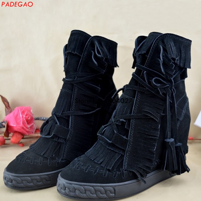 New Women Fashion Boots Autumn Shoes With Lace-up Ankle Wedge Heel Short Boots Black Fringe Mujer ShoesNew Women Fashion Boots Autumn Shoes With Lace-up Ankle Wedge Heel Short Boots Black Fringe Mujer Shoes
