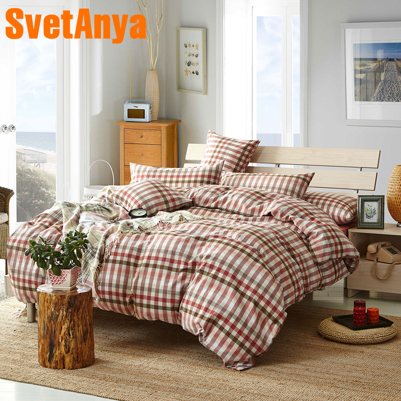 Svetanya pure Washed Cotton Bedlinens Plaid Printed Bedding Sets (Pillowcase +flat or fitted Sheet +Duvet Cover ) Svetanya pure Washed Cotton Bedlinens Plaid Printed Bedding Sets (Pillowcase +flat or fitted Sheet +Duvet Cover )