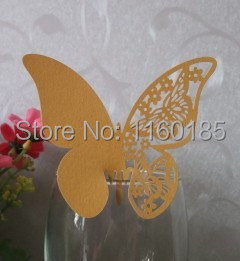 Free Shipping 12pcs Gold Butterfly laser cut cup pearl paper card name card on glass