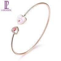 Lohaspie Diamond Jewelry Natural Gemstone Ruby Pink Shell 18K Rose Gold Heart Open Bangle Fine Fashion Stone Jewelry Love Gift