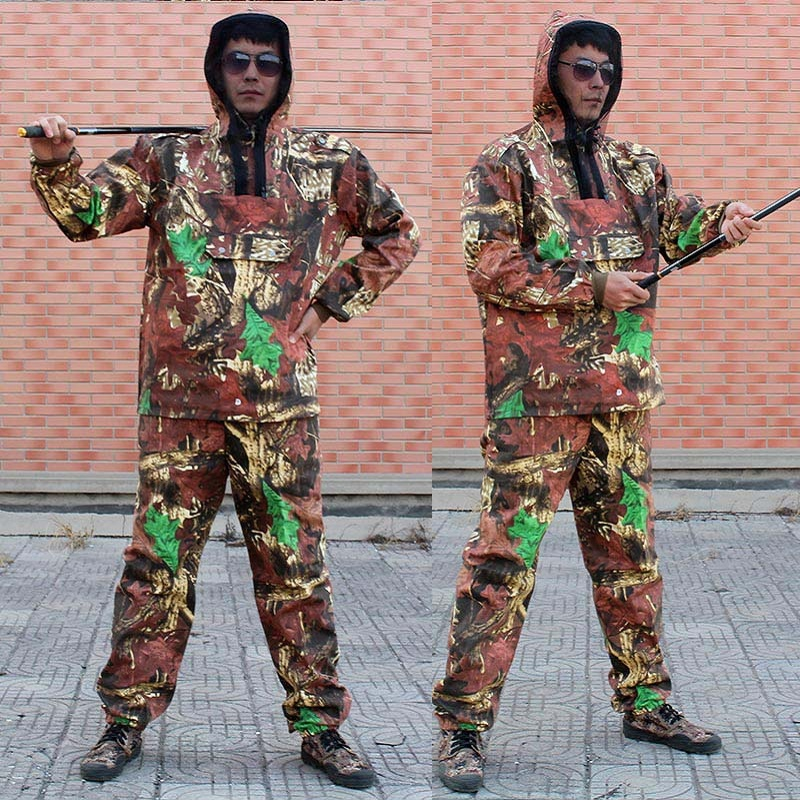Men's Outdoor Camouflage Hunting Clothing Uniform Unti Mosquito Clothes Fishing Clothes Hoodie Pants Bionic Camo Hunting Suit drawstring spliced camo jogger pants