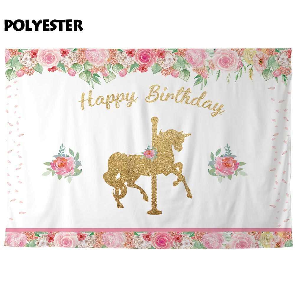 Funnytree tła dla fotografii studio karuzela temat urodziny kwiat złoty koń dziecko tło photocall strzelać