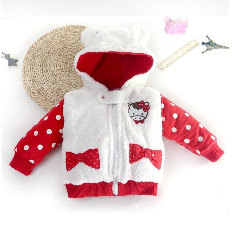 (4 Teile/los) Baby Dicke Jacke Winter Infant Mädchen Kleidung Neugeborenen Warme Kleidung Cartoon Dot Hoodie Oberbekleidung Kleinkind Jungen Mantel