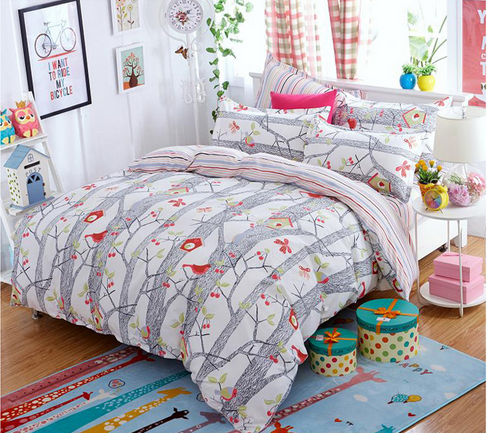 Reactive printing personality polyester birds singing in the branch soft comfortable warm home textile with double pillow cases