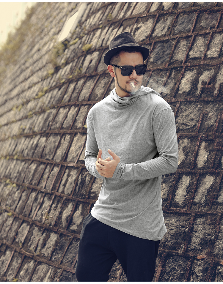 HTB1IGP4XynrK1RjSsziq6xptpXaB - Men Autumn New European Style High Collar Long Sleeve Hooded T-shirt with Cap Men Slim Casual Cotton Irregular T-shirt T908