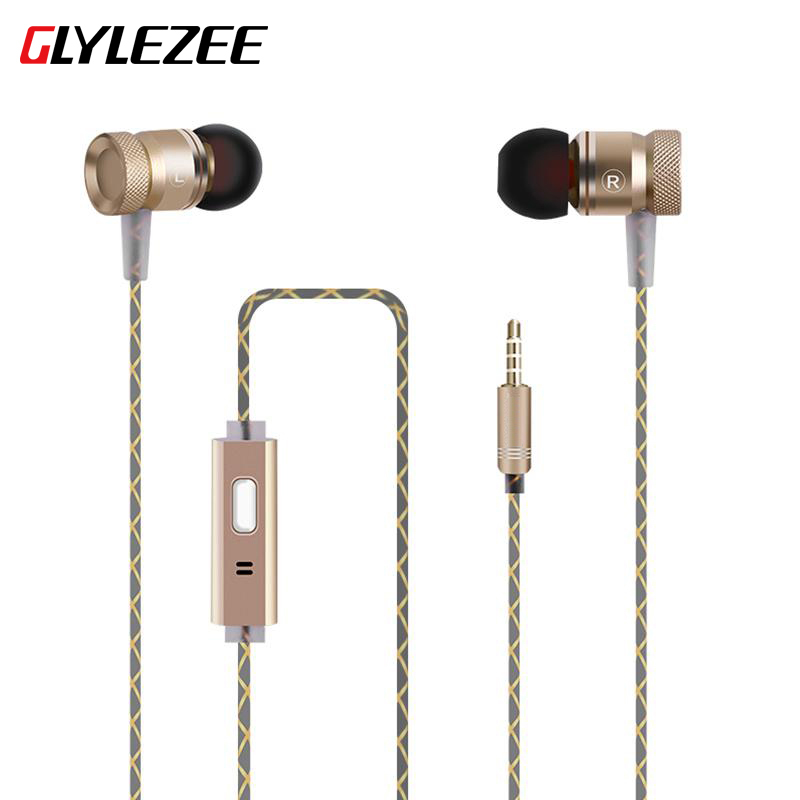 Glylezee G63 Metal Heavy Bass In Ear Earphone Resist Twine With Microphone Headset For Mp3 iPhone Andriod Xiaomi original xiaomi hybrid earphone 1more mi headphones headset 2 unit in ear circle iron mixed piston 4 for iphone samsung lg htc