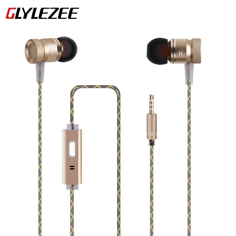 Glylezee G63 Металл тяжелый бас в ухо наушник противостоять шпагат С микрофоном гарнитура для MP3 iphone Andriod Xiaomi