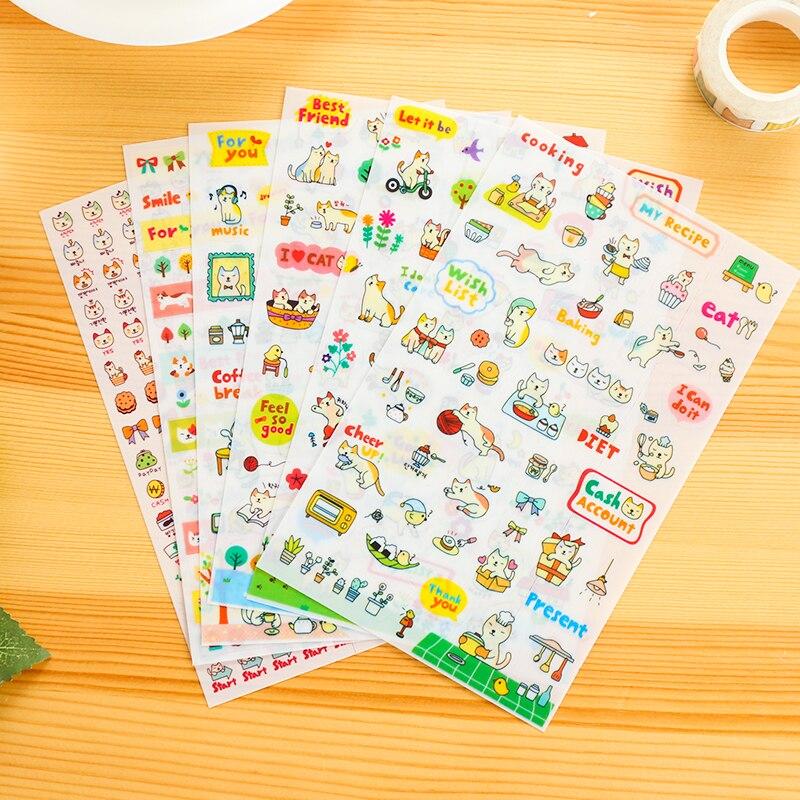 6 pcs DIY Korea cute kitten stationery DIY book stickers student cute novel decoration diary self-adhesive stickers scrapbook