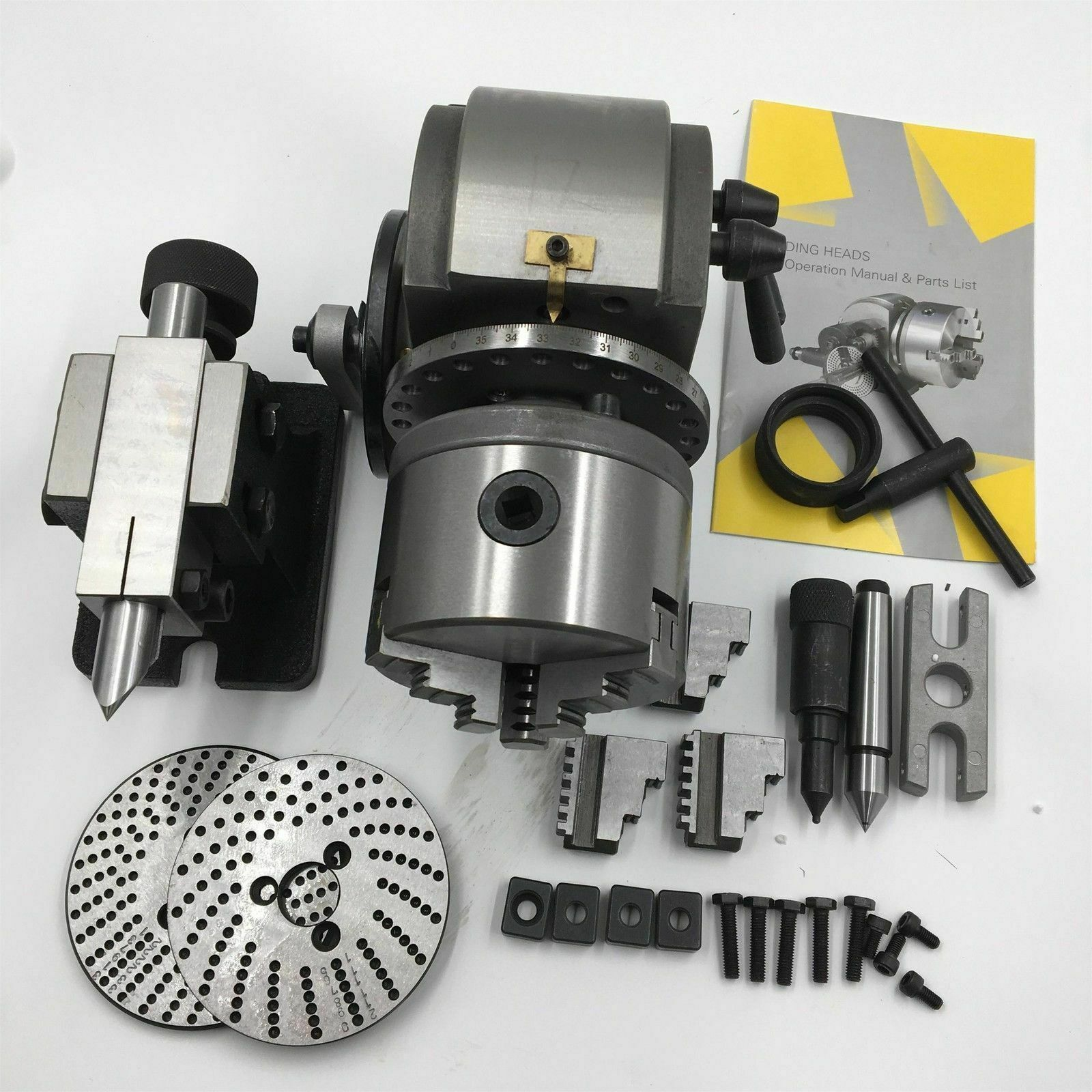 BS 0 5 Semi Universal Quick Indexing Dividing Head 3 Jaw Chuck Spiral Tailstock for CNC