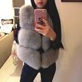 New 2017 Winter Women's Thick Warm Faux Fox Fur Vest High Quality Fashion O-Neck Short Fur Coat For Women Outwear