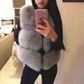 Nuevo 2017 Invierno Caliente Grueso de Las Mujeres Faux Fox Chaleco de Piel de Moda de Alta Calidad O-cuello Corto Fur Coat Para Las Mujeres Outwear