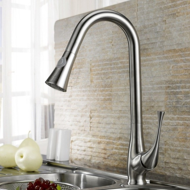 Free ship Brushed nickel Swivel Pull out Spray Kitchen Bar Sink ...