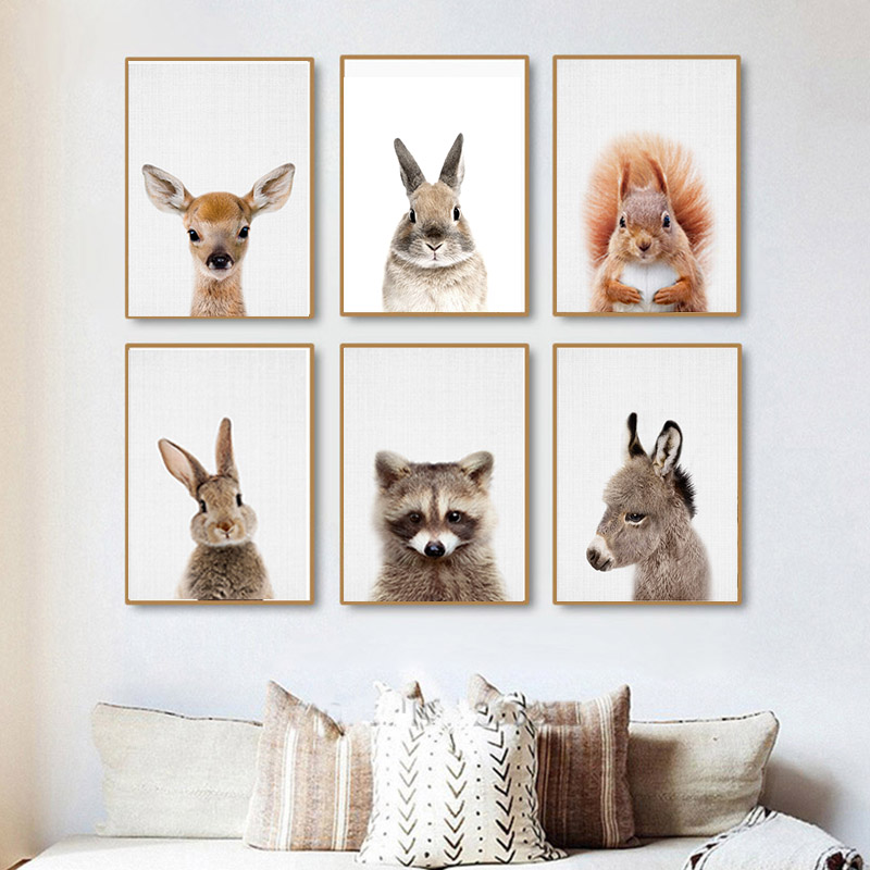 Squirrel Print Woodland Nursery Wall Art Decor Forest Animals Baby Animal Large Poster Living Room Modern Decoration