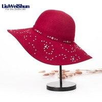 2018 British Retro Style Women Pure Wool Hat Diamond Formal Hat Woolen Autumn/Winter Big Wide Brim Hat Warm Lady Stewardess Hat