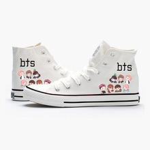 Pattern Cartoon High Heel Canvas Upper Sneakers Student Custom Fashion Shoes