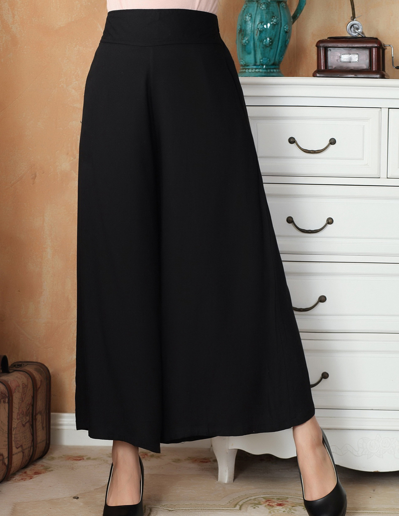 Black Chinese Traditional Women   Wide     Leg     Pant   Cotton Elastic Waist Trousers Casual Long   Pants   Size M L XL XXL 2369-5