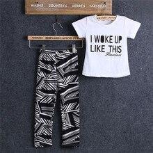 Emmababy Sumemr Hot Sale Children Clothes 2PCS Set Girls Short Sleeve Letter Print Pullover T-Shirt Zebra Striped Pants