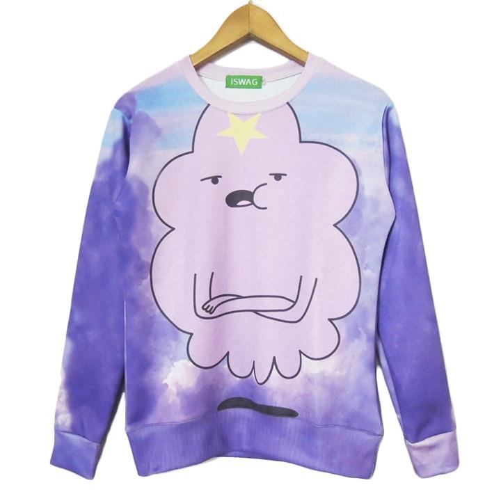 New lumpy space princess sweatshirt purple cloud beautiful sweats women/men casual hoodies adventure time clothes Drop Shipping