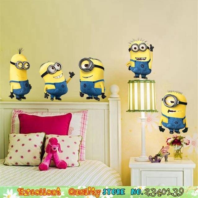 Hot Funny Minions Wall Stickers For Kids Room Mural Art Wall Decal ...