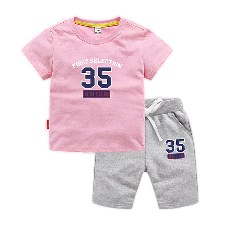 BOTEZAI Baby boy sports suit children summer girl cotton print cartoon two-piece childrens clothing clothes