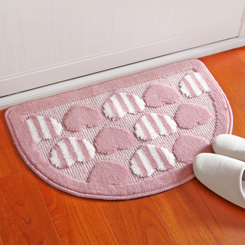 Polyester Semi Circular Heart Shaped Mat Entrance Door Small Mats Bedroom Kitchen Bathroom Little Carpet Cushion Whole In From Home Garden On