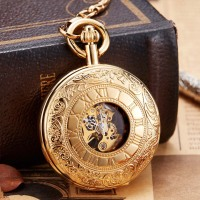 Luxury Golden Color Mechanical Pocket Watch with Chain Hand Winding Fob Watch No Battery Men Sliver Roman Numbers Engraved Clock