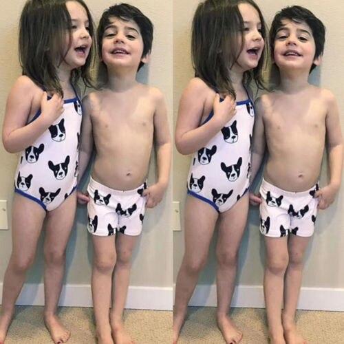 2018 New Cute Kids Baby Girl Boys Dog Swimsuit Swimwear Bulldog Swim Shorts Hat Daughter Son Summer Beachwear Bathing Suits