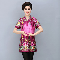 Older women short sleeved summer new silk print dress code factory direct
