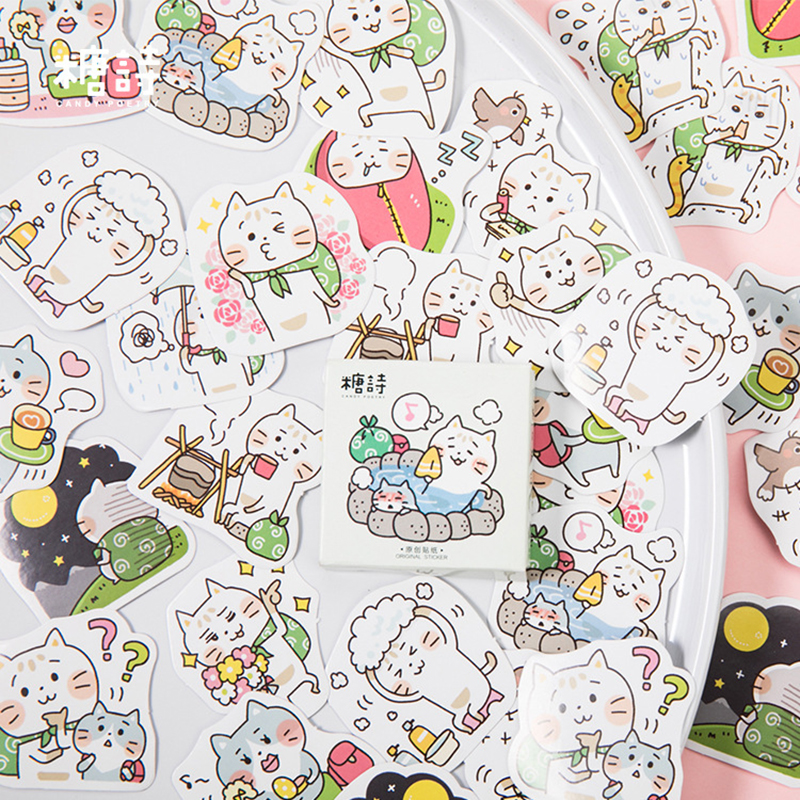Cat Travel Decorative Stickers Adhesive Stickers DIY Decoration Diary Japanese Stationery Stickers Children Gift
