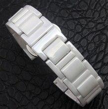 14 мм 16 мм 18 мм 20 мм высокое качество серебряный Depolyment часы пряжка и белой керамики часы группа браслеты для детей ladys часы